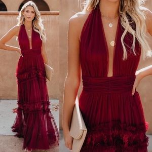VICI Open Your Heart Halter Lace Maxi Dress